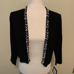 Cardigan with white pearls